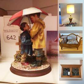 MaxSold Auction: This online auction features collectible china such as Limoges, Royal Poppy, Royal Albert, Colough, and Royal Winton, furniture such as vintage telephone bench, stained glass cabinet, sofa, and king brass bed, décor such as glassware, Hummel figurines, mirrors, table linens, Norman Rockwell plates, and pewter, small appliances such as Sanyo Microwave and Hoover vacuum and much more!