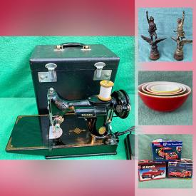 MaxSold Auction: This online auction features Vintage Sewing Machine, Antique Bronzed Figures, Vintage Royal Doulton Figurines, Vintage Pyrex, Art Glass, Vintage Moorcroft Pottery, Vintage Estate Jewelry, Vintage Car Model Kits, Musical Instruments, Vintage Toys, Solid Jade Carving, Stamps and much more!