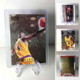 MaxSold Auction: This online auction features Sports Trading Cards for Kobe Bryant, Lebron James, Shaquille O'Neal, Allen Iverson, Scottie Pippen, Steph Curry, Luka Doncic, Jason Tatum, Brett Farve, Tom Brady, Wayne Gretzky and much more!