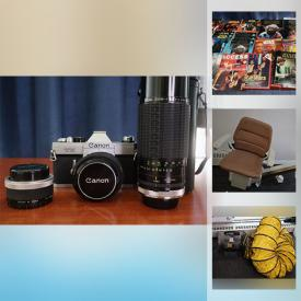 MaxSold Auction: This online auction features TVs, Stereo Equipment & Components, Dr Who mini-figures, Comic books, Star Wars collectibles, Portable Fireplace Video games & Components, Hand Held games, Xbox360, Tech gadgets, iPad, Antique furniture, Workshop Power Tools & Equipment, Cameras & Lenses, Toys, Games and much more