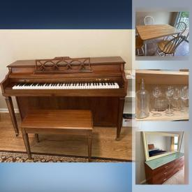 MaxSold Auction: This online auction features Jonas Chickering piano, Harvard pool table, furniture such as dinette set, lowboy dresser, nightstands, and sleigh bed, area rugs, glassware, books, shelving, CDs, lamps, treadmill and much more!