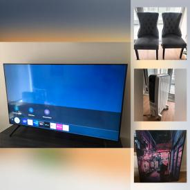 """MaxSold Auction: This online auction features a 55"""" TV, Sectional Sofa, Space heater, Forman outdoor grill, Asian Art, Solid wood Furniture and much more!"""