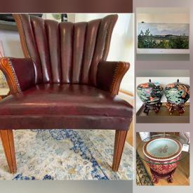 MaxSold Auction: This online auction features furniture such as folding stools and chairs, pedestal table, upholstered armchair, leather chair and ottoman, sofa, corner desk, console tables, futon and more, wall mirror, household items, TCL flatscreen TV, linens, wall art, Elizabeth Taylor collection electronics, rugs, lamps, planters, flatware, Lladro, France Fish-shaped oyster plates, glassware, small kitchen appliances, Limoges china and much more!