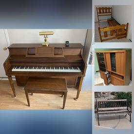 MaxSold Auction: This online auction features a Piano, Solid wood Furniture, Cast Iron Park Bench, Beds, Bookcases, Office furniture and much more!