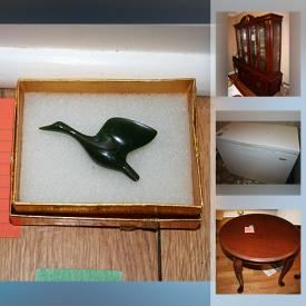 MaxSold Auction: This online auction features furniture such as a pine entertainment center, chairs, end tables, solid pine filing cabinet, Queen headboard, dresser, pine chest, retro ottoman and more, stemware, charcuterie board, Lynn's fine china, Christmas, air purifier, lamps, Jade Canada Goose pin, cups and saucers, decor and much more!