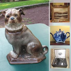 MaxSold Auction: This online auction features art glass, Royal Mayolica tureen, ceramic and porcelain planters, Chinese foo dogs, antique shelf, teapots, costume jewelry, antique mirror, linens, bedding art, MCM ceramic table lamp and much more!