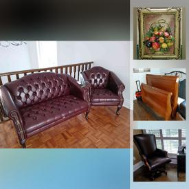 """MaxSold Auction: This online auction features silver plate, furniture such as leather sectional, nesting tables, upholstered sofa, dining table with chairs, sleigh bed, armchair with ottoman, Thomasville lingerie chest, and Thomasville dressers, framed wall art, home decor, stoneware, lamps, area rugs, 60"""" RCA TV, glassware, dog house and much more!"""