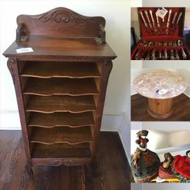 MaxSold Auction: This online auction features Madame Alexander Dolls, African Art, Antique Dolls, Pyrex, Ceramics, Kitchenware, Baking Dishes, Vintage and Antique Furniture, Glassware, Collector Plates, Electronics, Power Tools, Records, Garden tools, Planters and much more.