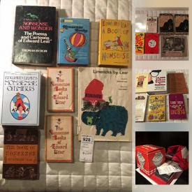 MaxSold Auction: This online auction features Limericks and joke books by Edward lear, Thomas Byrom, Isaac Asimov, Spike Milligan, G. Legman and other authors, Bawdy Ballads, Limerick ephemera, Immortalia, Rare Limerick Cards and much more!