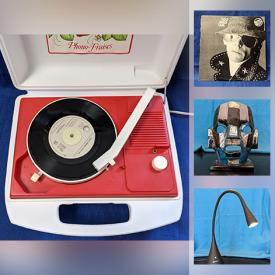 MaxSold Auction: This online auction features Rock and Jazz Record Albums, Art Pottery, Wood Carvings, African Masks, Cranberry Glass Vases, Deco Demitasse Coffee Set, Stereos, Fishing Gear, Bicycles, MCM collectibles, Lamps and much more.