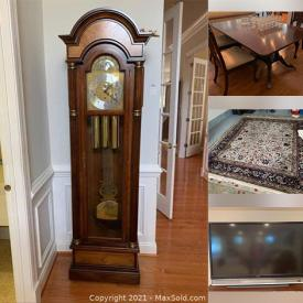 """MaxSold Auction: This online auction features grandfather clock, Waterford crystal, Lenox, Mikasa, furniture such as chests of drawers, sofa table, secretary, dining table and chairs, area rugs, tapestry, framed wall art, books, lamps, cookware, Christmas decor, glassware, small kitchen appliances, 24"""" Samsung TV, CDs, DVDs, home decor, costume jewelry, patio set, garden supplies, neon bar light, sports equipment, hand tools and much more!"""