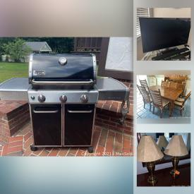 """MaxSold Auction: This online auction features Hummel figurines, silver plate, crystal ware, Lenox, 50"""" Panasonic TV, Samsung sound bar, furniture such as secretary cabinet, dressers, tea cart, queen-size beds, armchairs, curio cabinets, and Ethan Allen sofa, wall art, small kitchen appliances, Weber grill and much more!"""