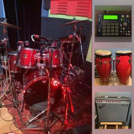 MaxSold Auction: This online auction features a Command 8 Interface Lot, Sara Drive Bays To USB Lot, Adapters, Speaker stands, CD/DVD burner, 421 Sennheiser Microphone Lot, Wahwah pedals lot, 5 Piece Yamaha Drum Kit, Monotribe Analog System, Congas, Fender Amp, Printer with cartridge, air conditioning unit, Shop-Vac, ladders, wood table, lockset and much more!