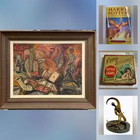 MaxSold Auction: This online auction features Vintage Jewelry, Antique Glass Figurines, Loose Cabochons, Mid Century Planters, Antique Leather Postcards, Autographed Baseballs, Sports Cards & Books, Stamps, Vintage Asian Watercolors, Coins, Art Glass, Depression Glass and much more!