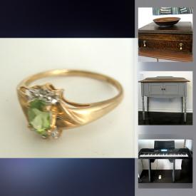 MaxSold Auction: This online auction features 10k gold ring, antique oak cutlery box, sterling silver, small kitchen appliances, pottery, diecast car, antique Roman bottle with COA, antique Judaica, antique console table, signed framed wall art, women's outerwear, lamps, area rugs, Optimus electronic keyboard and much more!