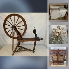 MaxSold Auction: This online auction features Pine Furniture, Antique Display Hutch, Antique Spinning Wheel, Home Gym, Wood Stove, Washer & Dryer and much more!