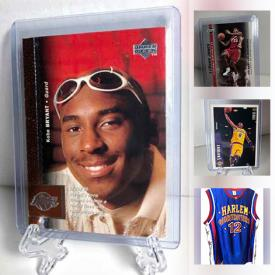 MaxSold Auction: This online auction features Sports Trading Cards such as Kobe Bryant, Clyde Drexler, Ken Griffey, Lebron James, Steph Curry, Rob Gronkowski, Wayne Gretzky, Michael Jordan, and Sports Jerseys, Sports Illustrated Magazines and much more!
