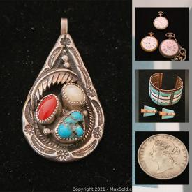 MaxSold Auction: This online auction features Vintage Art Deco Vanity Set, Vintage Costume Jewelry, Vintage Coins, Concho Belt, Vintage Snoopy Christmas Ornaments, Vintage Tokens, Vintage Watches and much more!