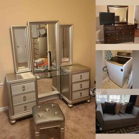 """MaxSold Auction: This online auction features Samsung washer and dryer, furniture such as demilune table, dressers, nightstands, king size bed, sectional sofas, and end tables, Samsung smartwatches, Blu-ray player, lamps, framed wall art, home decor, area rugs, Samsung 55"""" and 65"""" TV, glassware, bakeware, robot vacuum, shelving, lamps, framed wall art, outdoor patio set, power tools, bicycles, power washer and much more!"""