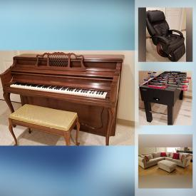 MaxSold Auction: This online auction features Baby Gates, L Shaped Sofa, Dining Room Table & Chairs, Upright Piano, Massage Chair, Foosball Table, Crystal Vases and much more!!