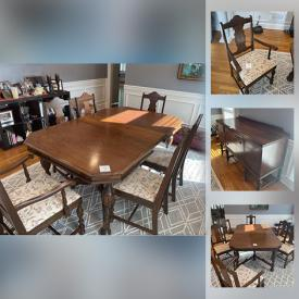 MaxSold Auction: This online auction features Antique Table with Slat & 6 Chairs and an Antique Buffet.