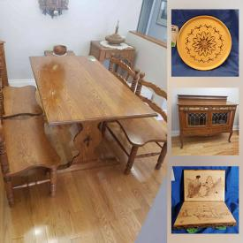 MaxSold Auction: This online auction features carved wall clocks, plates, bowls and covered bowls by artist Marcel Joanisse, furniture such as an Oak dining table, hutch, Mahogany side table, antique Oak buffet, occasional chair, shelving unit and more, prints, tripod, Wyatt Earp bust, stepladder, small kitchen appliances and much more!