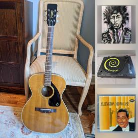 MaxSold Auction: This online auction features Vintage Guitar, Vintage LPs, Rock Band T-shirt, Art Glass, Soapstone Carving, Hawaiian Ukelele, Cranberry Glass, Stamps, MCM Lighting, Stereo Components and much more!!