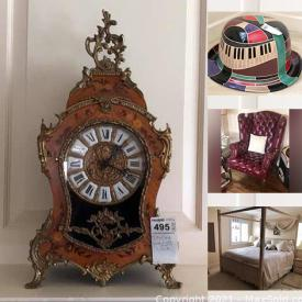 """MaxSold Auction: This online auction features Franklin Heirloom dolls, silver plate, furniture such as art deco dresser, La-Z-Boy reclining sofa, vintage desk and chair, canopy bed, and nightstands, original wall art, Asian decor, lamps, office equipment, 20"""" Sony TV, shelving units, outdoor chandelier, workout equipment, glassware, dishware, small kitchen appliances, fire pit, Christmas decor, HP printer and much more!"""