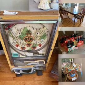 MaxSold Auction: This online auction features pewterware, antique rocking horse, Christmas bells collection such as Spode and Pfaltzgraff, crystal ware, Peanuts collectibles, furniture such as Ethan Allen nightstand, Thomasville curio cabinets, tables and chairs, Haverty's sofa and chair, and headboard with sides, wall art, Sony DVD player, Apple monitor, home decor, shelving units, board games, dishware, office supplies, costume jewelry, Pachinko machine, small kitchen appliances, lamps, ceramics, Weber grill, Schwinn bicycle, glassware, children's books, CDs, satellite receivers, antique register, garden tools and much more!