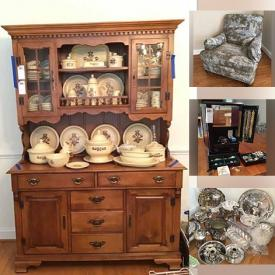 MaxSold Auction: This online auction features a grandfather clock, a dining table, a sofa bed, exercise equipment, chairs, a cedar chest, candles, glassware and kitchenware, books, a hutch, Ethan Allen furniture, artwork, rugs, office supplies, filing cabinets, speakers, clocks, toys, lamps, patio chairs, a grill and much more!