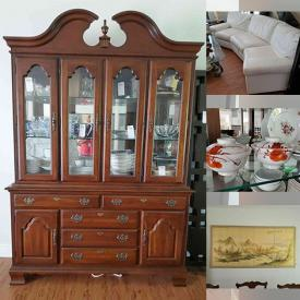 """MaxSold Auction: This online auction features Waterford crystal, collector's plates, silver plate, furniture such as Kincaid china cabinet, bar table with chairs, TV stand, and leather couch, glassware, pottery, dishware, wall art, bronze ware, Blue Rhino gas grill, area rugs, 60"""" RCA TV, books, stereo equipment, headphones, CDs, office supplies, board games, Husky tool storage, hand tools, power tools and much more!"""