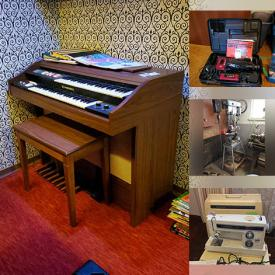 MaxSold Auction: This online auction features furniture such as a coffee table, shoe cabinet, dresser, chairs, wood filing cabinet, footstools, metal lockers, TV trays, circular table and chairs, entertainment center and more, vintage books, Wedgwood plates, barware, kitchenware, Kenmore sewing machine, Electro Matic sewing machine with table, Tupperware, wall hangings, artwork, pewter, records, glass and crystal, Yamaha sound system and other electronics, Christmas decor, fishing rods, reels, downriggers and more, hardware, hand tools, power tools, Handball rackets, Pingpong items, Norco women's bicycle and other sports accessories, Craftsman lawnmower, Fender guitar case, vintage lamps, dress form and much more!