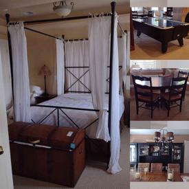 """MaxSold Auction: This online auction features 72"""" Sony TV, 56"""" Samsung TV, furniture such as sectional sofa, bar stools, bar cabinet, headboards with outlets, queen canopy bed, dressers, dining table and wicker patio set, exercise equipment, air hockey table, bikes, planters and much more!"""