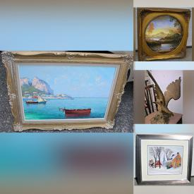 MaxSold Auction: This online auction features Guido Odierna Oil Painting, Art Deco Lighting, Art Glass, Stained Glass Window Panel, Rustic Fireplace Lamp, Quebec Wood Carving, Vintage Cranberry Art, Art Deco Style Figure, Feathered Masks and much more!