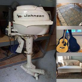 """MaxSold Auction: This online auction features Goebel, silver plate, steins, Prelude acoustic guitar, furniture such as wooden hutch, wooden stools, dining table and chairs, Broyhill sofa, full size bed, and console tables, camping gear, granite countertop, books, shelving, Vizio 42"""" TV, outboard motor, signed and framed wall art, ProForm exercise equipment, small kitchen appliances, bakeware, cookware, lamps, area rugs, women's clothing and accessories, weighted blanket, CDs, DVDs, board games, holiday decor, golfing equipment, glassware, hand tools, outdoor furniture set and much more!"""