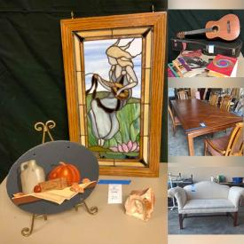 MaxSold Auction: This online auction features furniture such as cherry bookcases, wooden workbenches, armchairs, sofa table, Ethan Allen TV armoire, dining room table and chairs, Bush office furniture, buffet server, hall tree, shelving units, Schwartz furniture desk, upholstered side chair and more, vintage Coon trumpet, Carolina mirror, Phillips TV, decor, Hondo guitar with case, rugs, Cuisinart food processor, Stiffel Waterford lamp, kitchenware, Reed & Barton sterling silver flatware, mercury glass pillar holders, natural decor and much more!