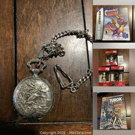 MaxSold Auction: This online auction features Coin Collections, Electronics, Glassware, Blown Glass, Games, Men's Jewelry, Sports Equipment, Canadian Currency, Pocket watches, Clothing, Ornaments, Comics, Nintendo 64 Games, Gameboy Games and more