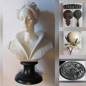 MaxSold Auction: This online auction features jewelry, collectibles, 14K Gold Floral Pin, Wedgewood, Denmark vanity set, coins, chess set, Red Florentine covered casserole, Indian pepper set, decorative doll, Belleek teapot and much more.