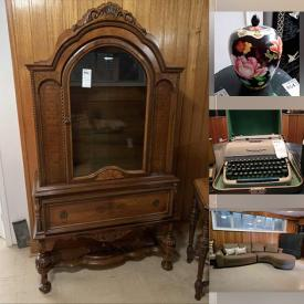 MaxSold Auction: This online auction features furniture such as an antique wooden cabinet, hall tree, tables, chairs, poker tabletop, sofa, chairs, loveseat, MDF shelving units, antique carved wooden cabinet, storage units and more, TVs, projector screen, mirror, Jamo speaker, wall hanging, Singer Caramate projector viewer, printer, Coronet electric typewriter, lacquered panel screen and much more!