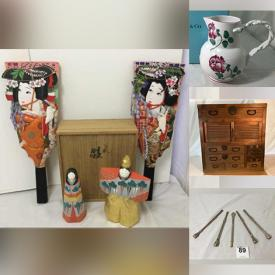 MaxSold Auction: This online auction features Japanese Hagoita Paddles, Russell Wright China, Imari Ware, Vintage Toys, Cloisonné, Vintage Pyrex, Vintage Metal Lunch Boxes, Vintage Medicine Bottles, MCM Serve Ware, Japanese Campaign Chest, Japanese Gunbai Fans and much more!