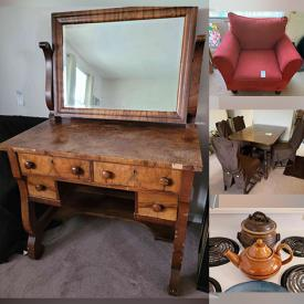 MaxSold Auction: This online auction features furniture such as dining table and chairs, armchair, lounge chair, games table, antique chairs, vintage china cabinet, antique turtle table, vanity, small cabinets, stools and more, Christmas decor, LG air conditioner, dehumidifier, small chest freezer, luggage set, stepper machine, chair gym, decorated trees, wicker, sewing machine, rug cleaner, pet kennel, albums, electronics, Kokopeli figures, planter, yard decor, electric fireplace, decor and much more!