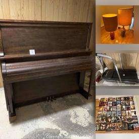 MaxSold Auction: This online auction features upright piano, Marvel and DC comics, furniture such as dining room set, sofa, chests of drawers, desks, cabinets, side tables and custom shelving, hand tools, treadmill, lamps, wardrobe, international souvenirs, sports equipment, glassware, kitchenware, DVD recorder, lawn mower, small kitchen appliances, vintage costume jewelry, CDs, DVDs, home decor, record albums and much more!
