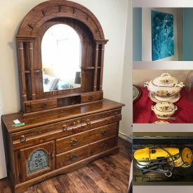 MaxSold Auction: This online auction features furniture such as patio tables, chairs, loveseat, sleigh bed, media cabinet, nightstands, dresser with mirror, china cabinet, chairs and more, Yard Machines snowblower, wheelbarrow, planter, deck box, pull wagon, Christmas decor, Dewalt tools, Bunnykins, Christopher Stuart china, floral china, glassware, original art, small kitchen appliances, lamps, Maytag fridge, armchair, clock, framed masks and much more!