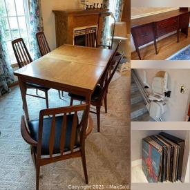MaxSold Auction: This online auction features Patio Sets, Gardening Supplies, Dining room furniture, Antique Books, Lamps, Weighted Sterling, Albums, Skis, MCM Coffee tables, Sewing Machines, Christmas Decorations, Artwork, Stairlift and much more.