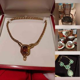 MaxSold Auction: This online auction features Romertopf Clay Bakers, Vintage Harry Rosenfeld Belt, Pallet Jack, LeCruset Casseroles, Vintage Tea Set, Costume Jewelry, Mahogany Mirror Display Case, Pearl Necklaces, Art Glass, Ostrich & Lamb Pantsuit, Jean Claude J'Trois Lambsuede Dress, Masks and much more!