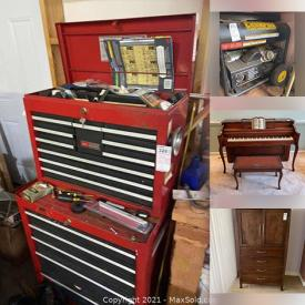 MaxSold Auction: This online auction features Disney, Vice, Welding Machine, Electronics, Piano, Lamps, Stuffed Teddies, Vintage Furniture, Kids Toys, Wall Art, King Bedroom Furniture, Leg Massager, Telephone chair, Barrister Bookcases, Computer Equipment and much more.
