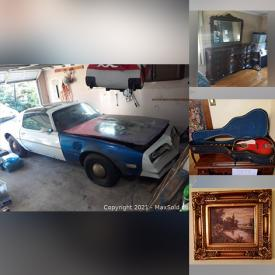 """MaxSold Auction: This online auction features 1978 Pontiac Firebird Project Car, crystal ware, Hummel, Campbell's collectible, collectible dolls, 29"""" Element TV, furniture such as dining tables with chairs, settee, china cabinet, marble top table and leather sofa, bakeware, glassware, dishware, vintage toys, acoustic guitar, wall art, Christmas decor, area rugs, vinyl albums, children's toys, power tools, lighting, aquariums and much more!"""