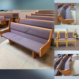 MaxSold Auction: This online auction features a wooden pulpit, upholstered pews, office chair, wood chairs and much more!
