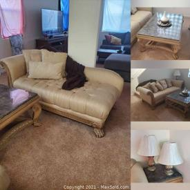MaxSold Auction: This online auction features Living Room Furniture including Sofa, Chaise, Coffee Table, End Table and Lamps.