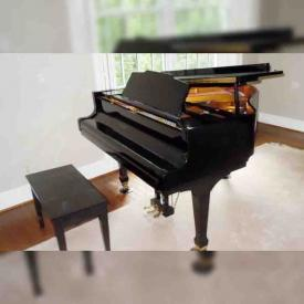 """MaxSold Auction: This online auction features Weber Baby Grand Piano, Mahogany Dining Room Table With 2 Leaves, Spode """"Wicker Dale"""" China, Large Upholstered Armchair, Beatles and Rolling Stones Vinyl Records & More, Vintage Photography Equipment and much more!"""